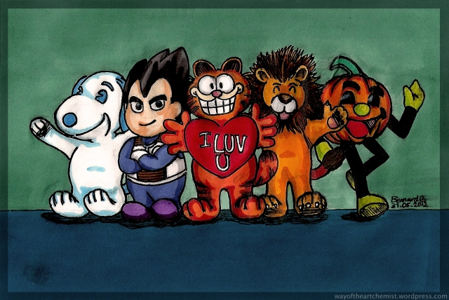 From Left: Snoopy(區次郎), Vegeta(比達仔), Garfield(加非貓), Christopher Lion, Halloween