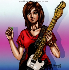 guitar hero, blossom, character design, way of the artchemist, mascot, manga, anime, illustration, rockstar, singer,