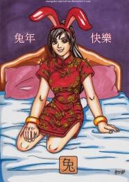 Bunny Girl wearing the chinese qipao long dress