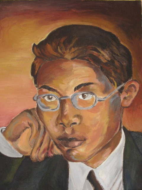 Posed. Self Portrait. Again, High school coursework oil painting on canvas piece