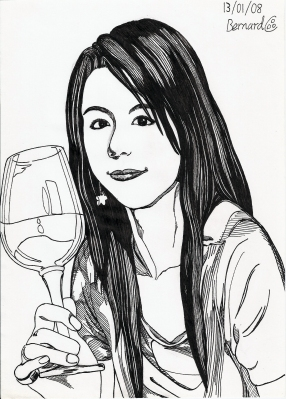 Stephy Tang. Pencil sketch and black fineliner study.