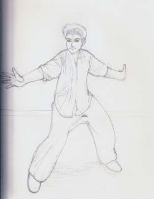 figure, drawing, pose, practicing, pencil, bajiquan, martial artist, kung fu, chinese,