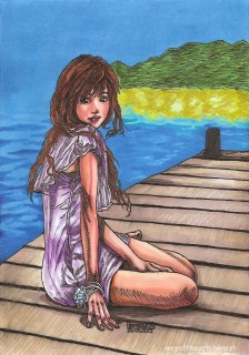 contemplating, melancholy, contentment, model, girl, woman, picture, manga, art, illustration, letraset promarkers, fine liner,