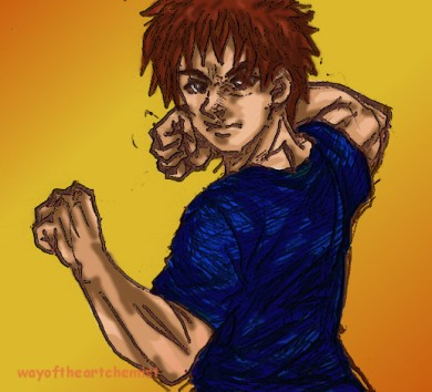 manga, art, illustration, fight, pose, stance, fighting stance, martial artist, fighter, male, eyes, look, confidence, focus, orange, background, pumped, muscle, man, digital art, painting, biro pen, drawing,