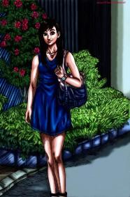 pretty woman, lady, manga style art, drawing, street, garden, illustration, designer, handbag, character design, blue dress,