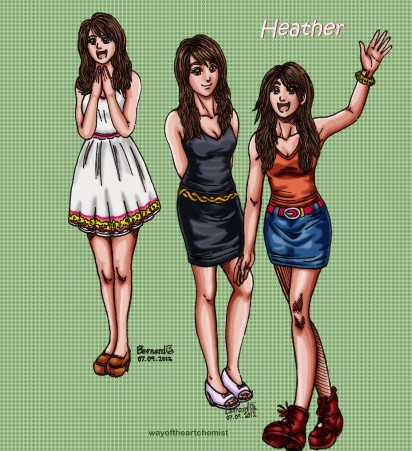 Heather, Character Design, in different angles and poses, wayoftheartchemist, hairstyle design, girl, woman