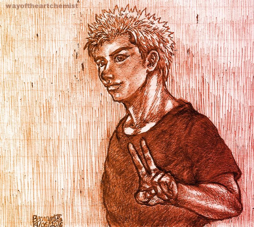 biro, art, design, manga, doodling, pen, drawing, man, muscle, shonen, peace, v, sign, strong, neck, spiky, hair, manly, wayoftheartchemist.com,
