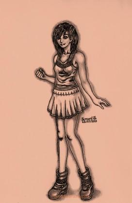 character design, art, manga, illustration, black & white, grey, shading, girl, woman, chinese, heels, boots, flirty, skirt, vest, breasts,