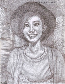 Angel Chiang, Angel, Chiang, woman, girl, holiday, portrait, hat, cowboy hat, smile, smiling, pose, expressions, black & white, pencil, drawing, 5H, shading, technique, Bernard, Au, WayoftheArtchemist, manga, fine, art, beauty, TVB, Artiste, artist, TV, celebrity