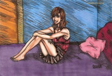 bedroom, bed, color, brunette, beautiful, design, hairstyle, fair, skin, almond, blush, vanilla, sunkissed, hot pink, night, dress, underwear, under, garment, manga, illustration,