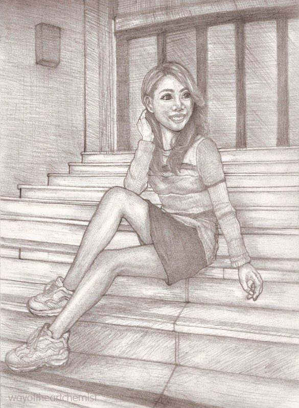 Mandy Yuen, Mandy, illustration, fine art, drawing, sketch, beautiful woman, girl, black and white, pencil, shading, A4, facial expression, smile, posing, staircase, portrait,
